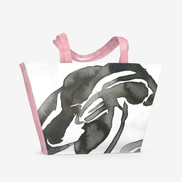 Пляжная сумка «Цветок, графика, чернила»