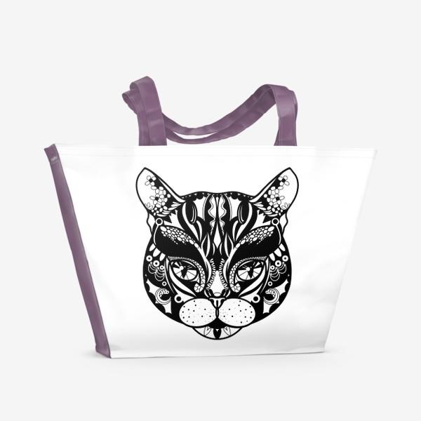 Пляжная сумка «Морда кота. Кот. Люблю котов»
