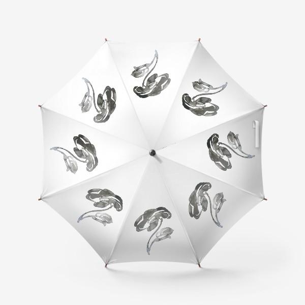 Зонт «Цветок, графика, чернила»