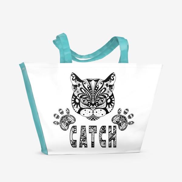 Пляжная сумка «Кот. Люблю кошек. Коты. Морда кота»
