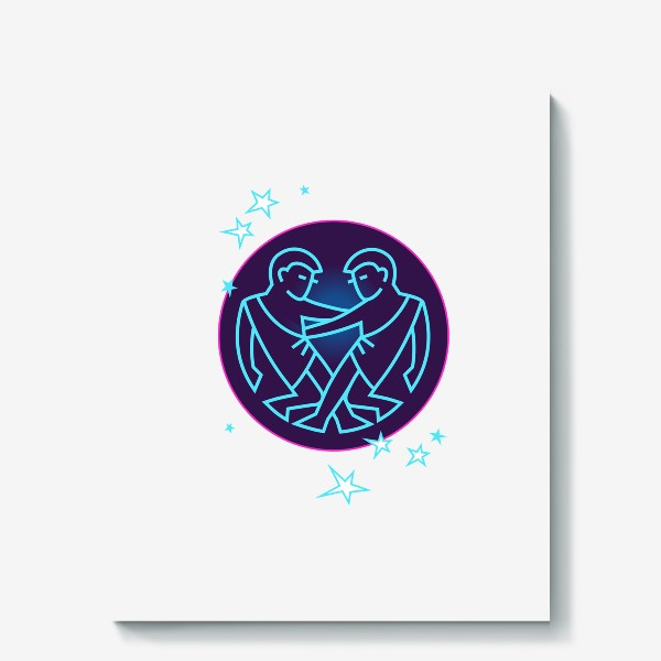 Холст «Близнецы Знак Зодиака. Символ и яркий орнамент»