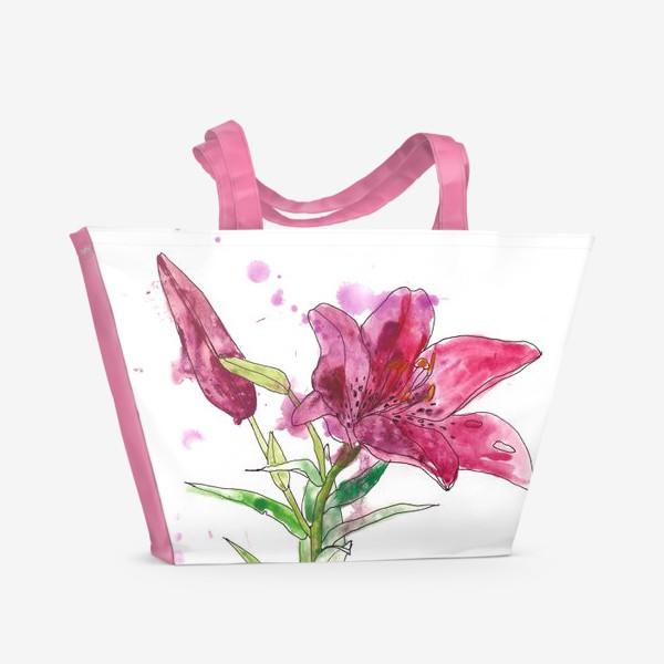 Пляжная сумка «Розовая лилия»