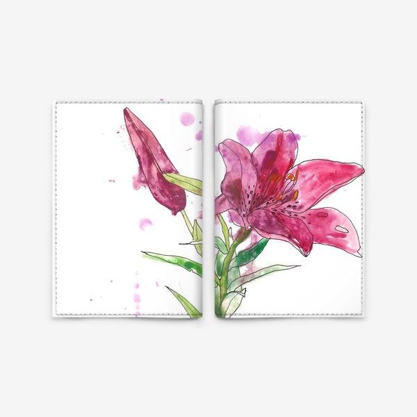 Обложка для паспорта «Розовая лилия»