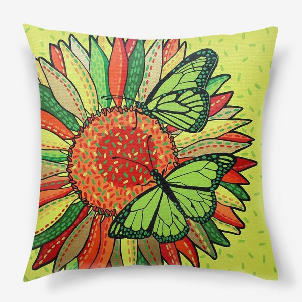 Подушка «Лето. Бабочки на цветке»