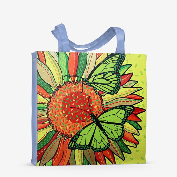 Сумка-шоппер «Лето. Бабочки на цветке»