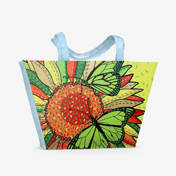 Пляжная сумка «Лето. Бабочки на цветке»