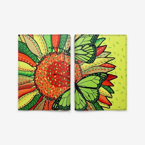 Обложка для паспорта «Лето. Бабочки на цветке»