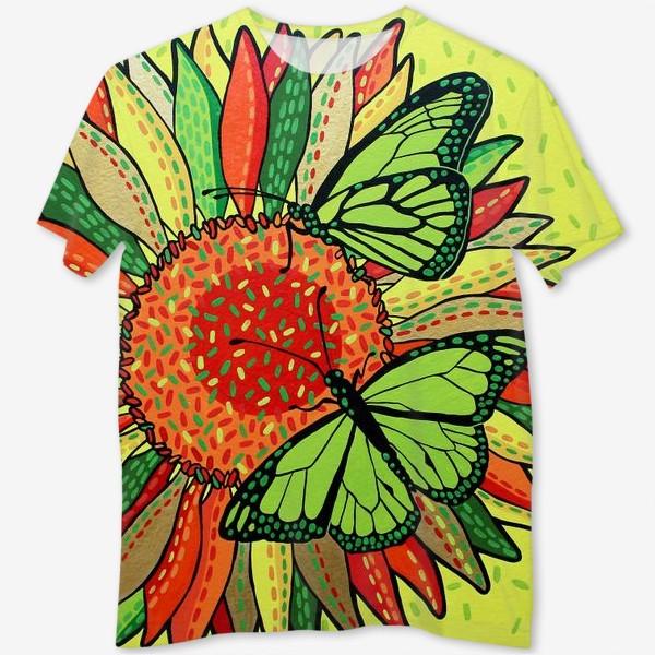 Футболка с полной запечаткой «Лето. Бабочки на цветке»
