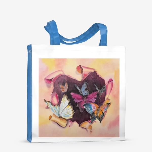 Сумка-шоппер «Бабочки в сердце»