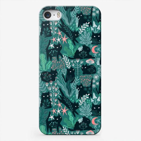 Чехол iPhone «Черный кот и девочка в цветах»
