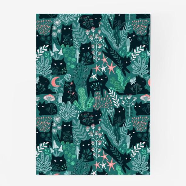 Постер «Черный кот и девочка в цветах»