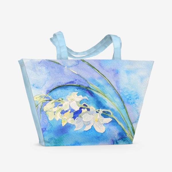 Пляжная сумка «Белая орхидея»