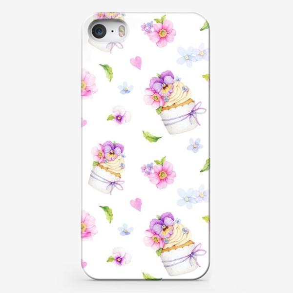 Чехол iPhone «капкейк с цветами»