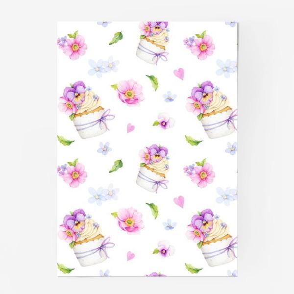Постер «капкейк с цветами»