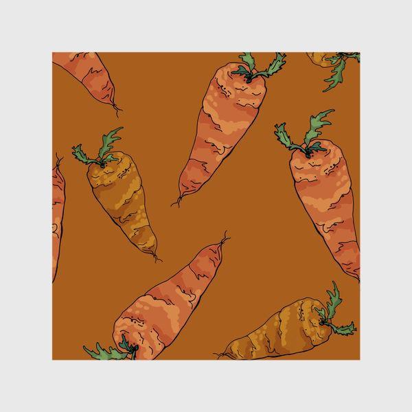 Шторы «Морковный паттерн на терракотовом »