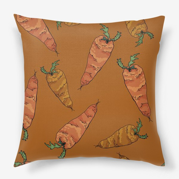 Подушка «Морковный паттерн на терракотовом »