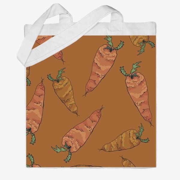 Сумка хб «Морковный паттерн на терракотовом »