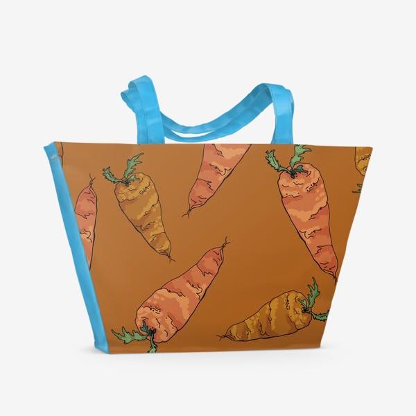 Пляжная сумка «Морковный паттерн на терракотовом »