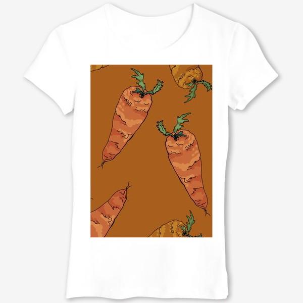 Футболка «Морковный паттерн на терракотовом »