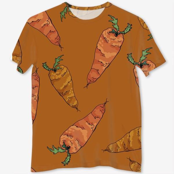 Футболка с полной запечаткой «Морковный паттерн на терракотовом »