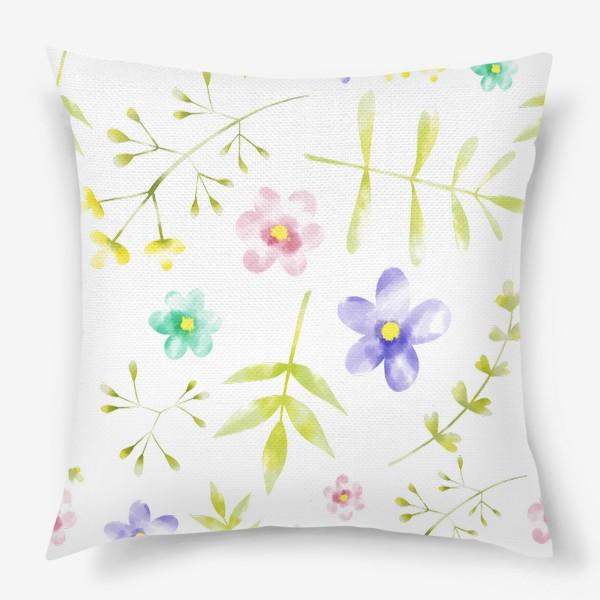 Подушка «Нежный акварельные цветочки »