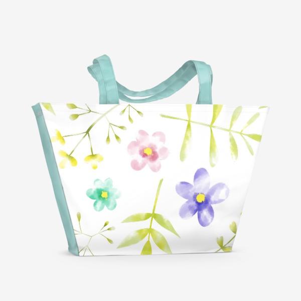 Пляжная сумка «Нежный акварельные цветочки »