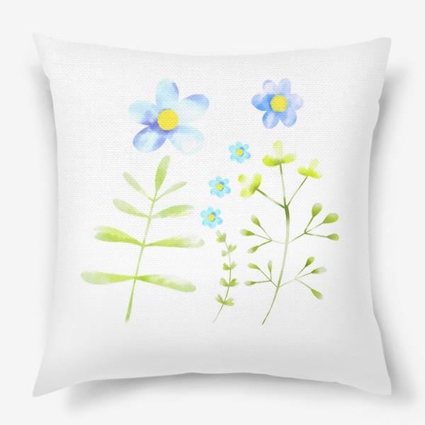 Подушка «Голубые акварельные цветы»