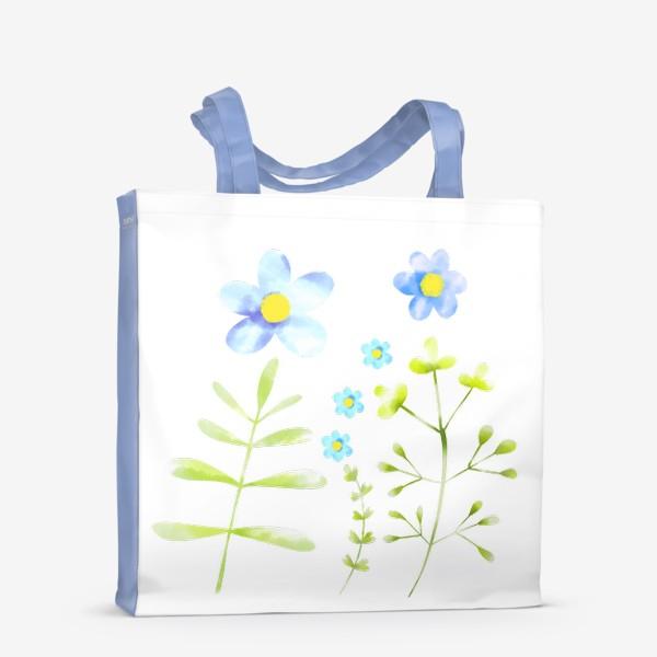 Сумка-шоппер «Голубые акварельные цветы»