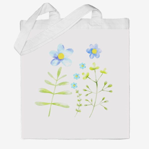 Сумка хб «Голубые акварельные цветы»