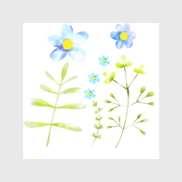 Шторы «Голубые акварельные цветы»