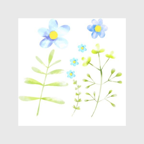 Скатерть «Голубые акварельные цветы»