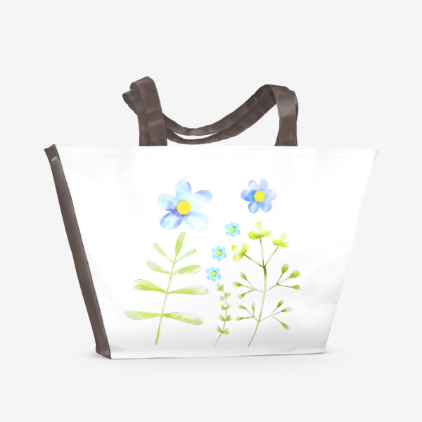 Пляжная сумка «Голубые акварельные цветы»
