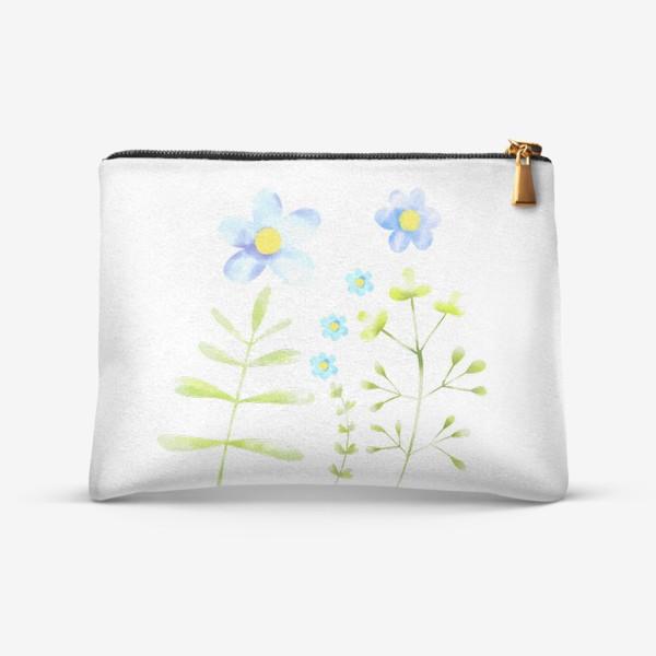 Косметичка «Голубые акварельные цветы»