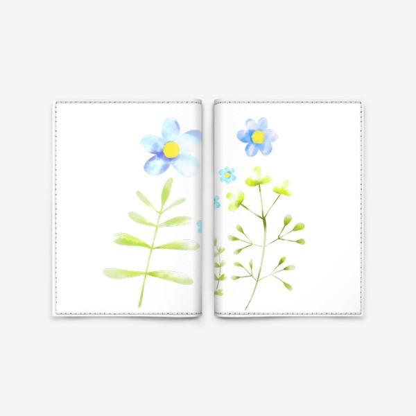 Обложка для паспорта «Голубые акварельные цветы»