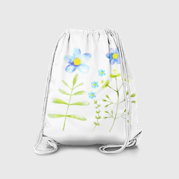 Рюкзак «Голубые акварельные цветы»