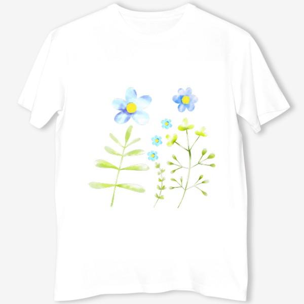 Футболка «Голубые акварельные цветы»