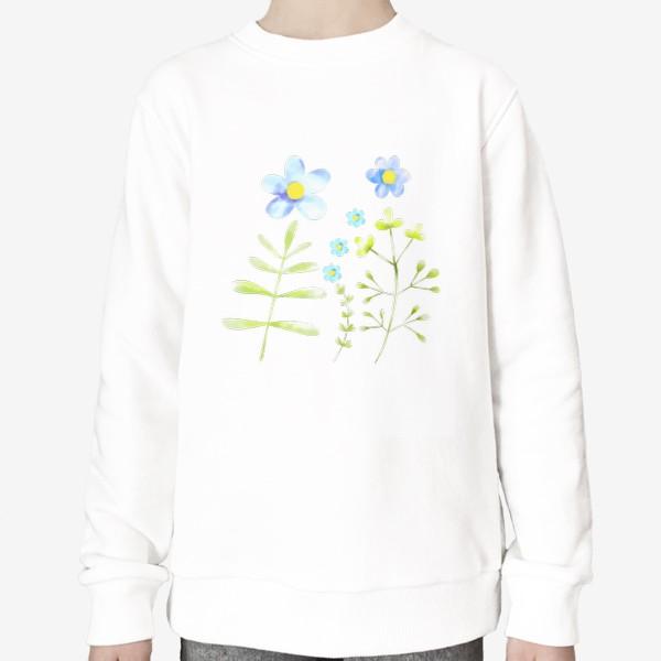 Свитшот «Голубые акварельные цветы»