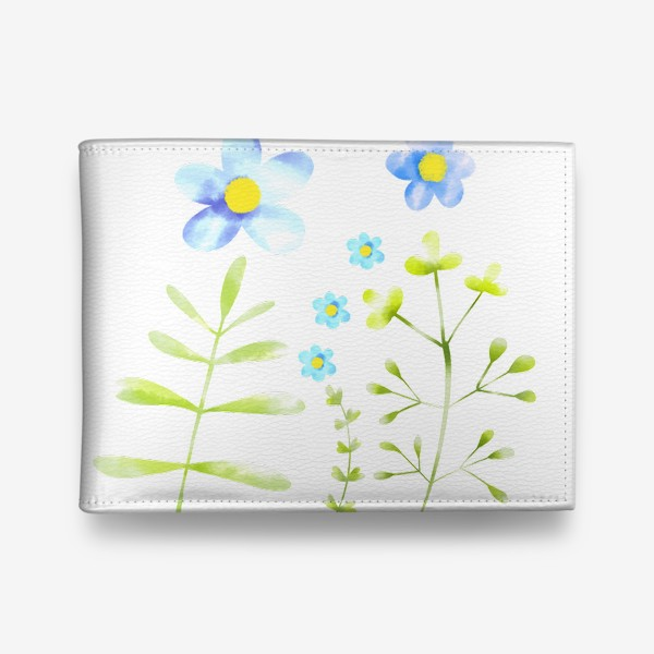 Кошелек «Голубые акварельные цветы»