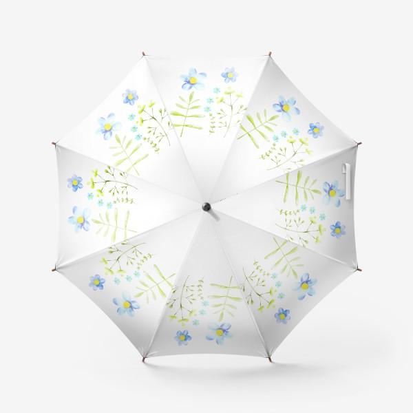 Зонт «Голубые акварельные цветы»