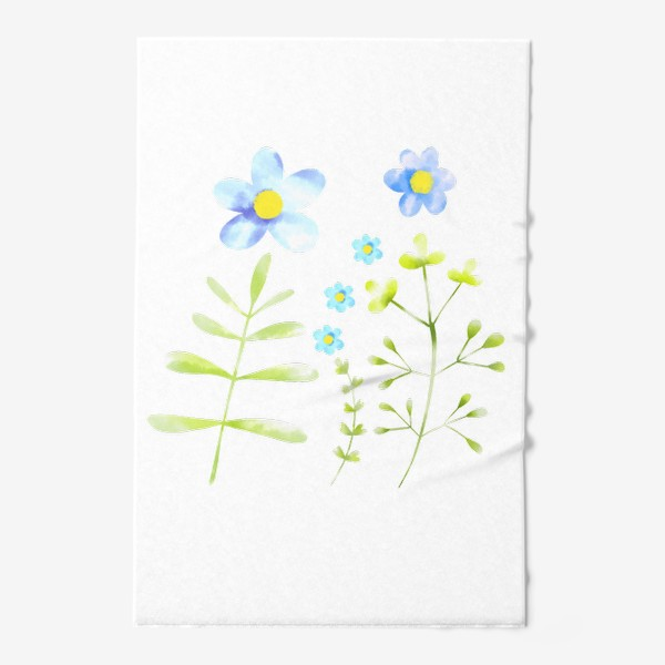 Полотенце «Голубые акварельные цветы»