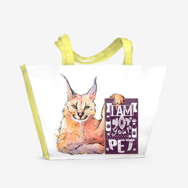 Пляжная сумка «Рысь. Акварель. Надпись для дома»