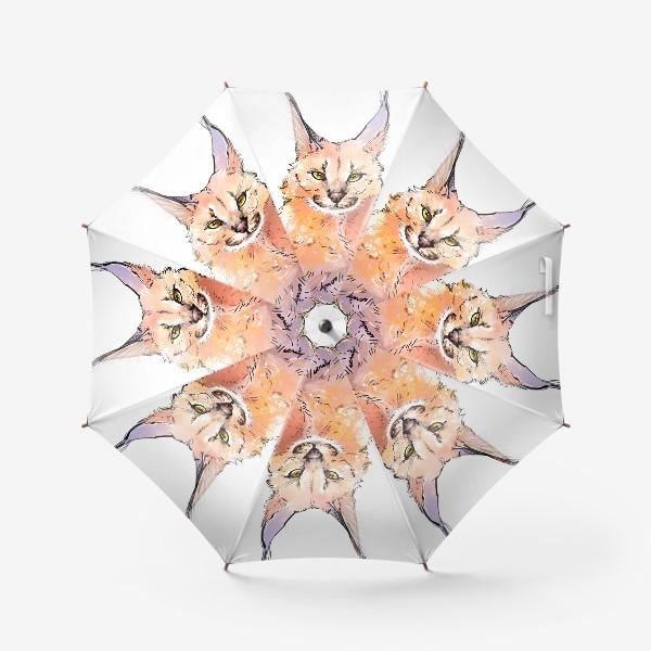 Зонт «Рысь. Акварель. Надпись для дома»