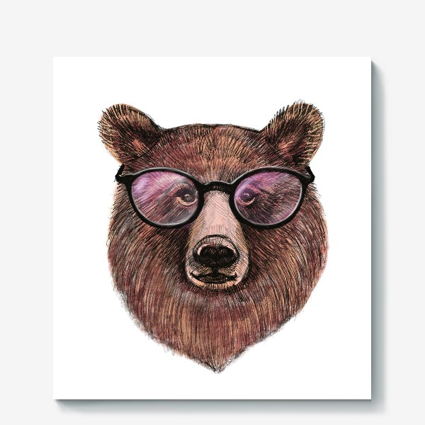 Холст «медведь в очках»
