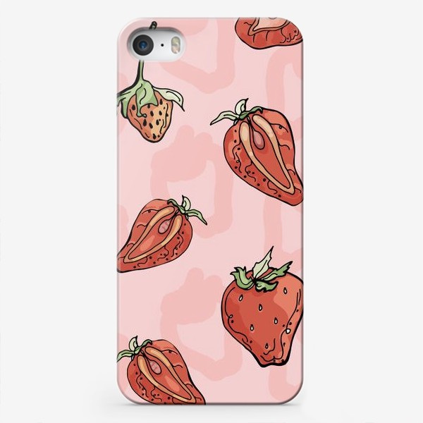 Чехол iPhone «Клубничный паттерн с розовыми тенями»