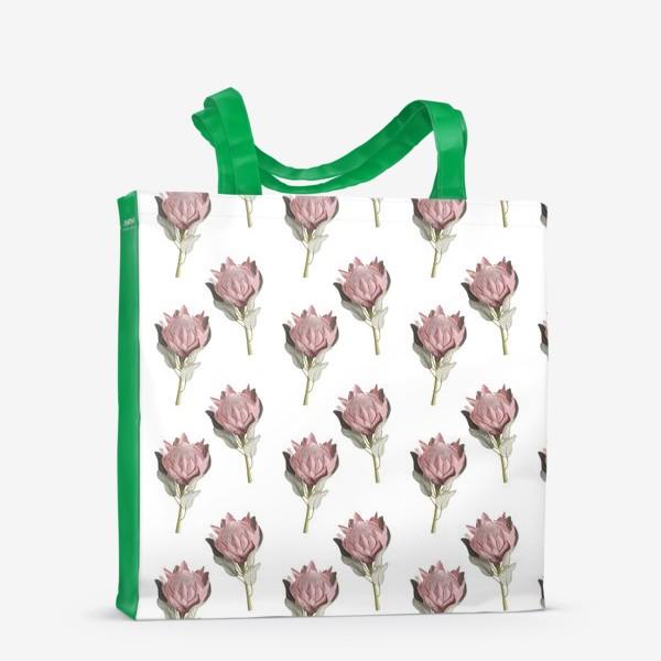 Сумка-шоппер «Паттерн с цветами протеи»