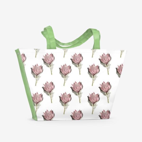 Пляжная сумка «Паттерн с цветами протеи»