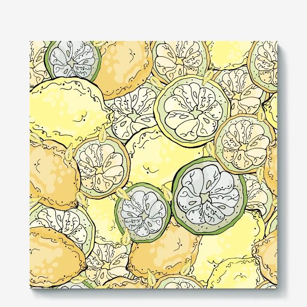 Холст «Насыщенный паттерн с плодами, дольками и семечками лимона»