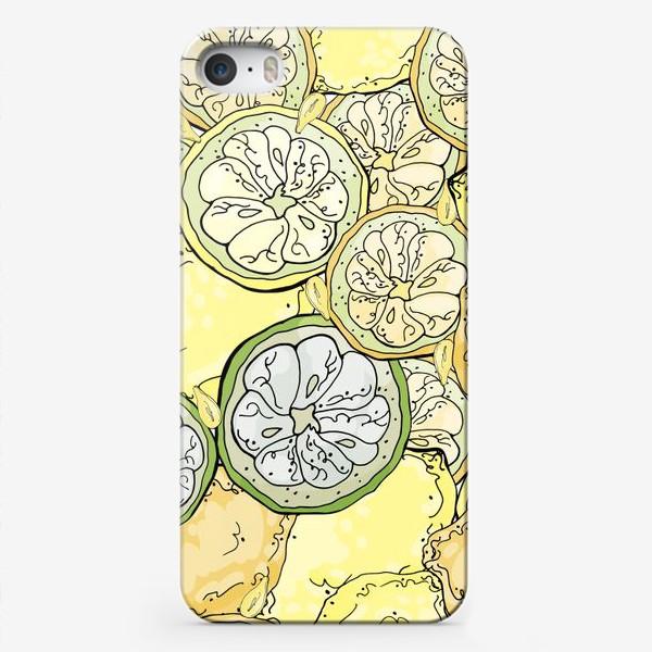Чехол iPhone «Насыщенный паттерн с плодами, дольками и семечками лимона»