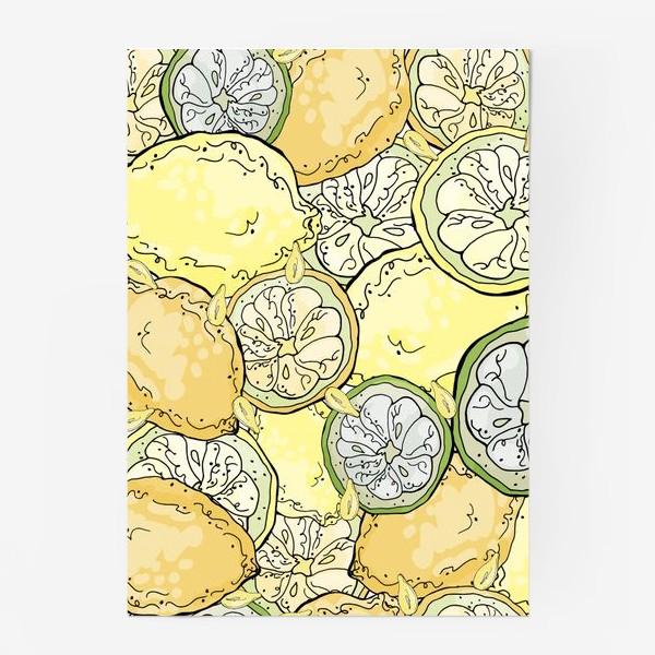 Постер «Насыщенный паттерн с плодами, дольками и семечками лимона»
