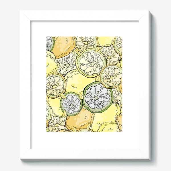 Картина «Насыщенный паттерн с плодами, дольками и семечками лимона»